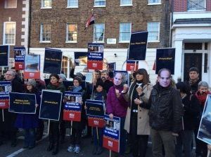 Protest for jailed journalists in Egypt 29 Dec 2014