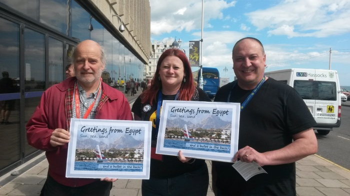 Andy Reid, Marianne Owens and Paul Williams (l-r) helped to launch our postcard campaign at PCS conference