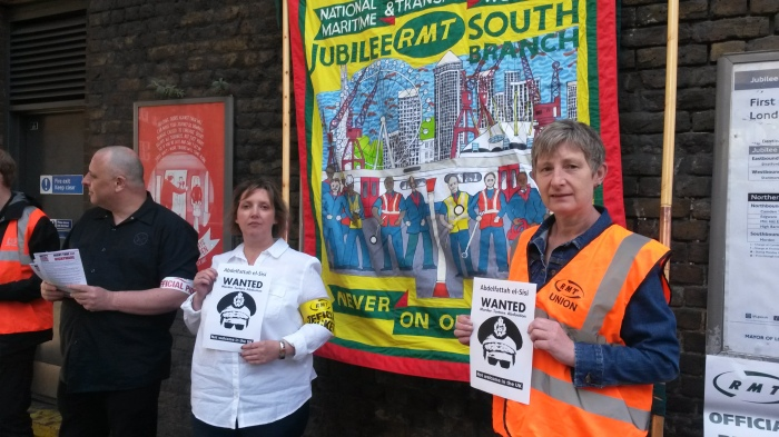 London Bridge pickets back Sisi not welcome campaign