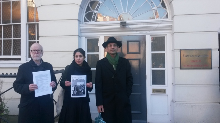 L-R, Dr Ron Singer, Dr Mona Ahmed and Dr Kambiz Boomla outside the Egyptian embassy in London