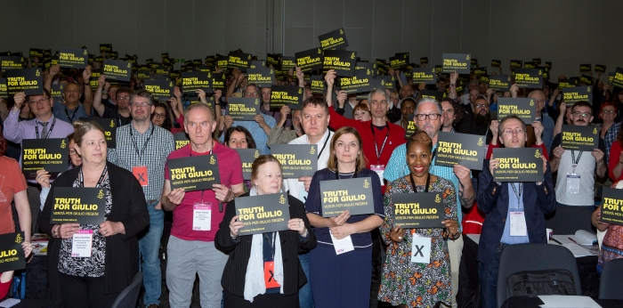Delegates to UCU's annual congress show their support for the campaign for #TruthforGiulio and justice for Egypt's Disappeared