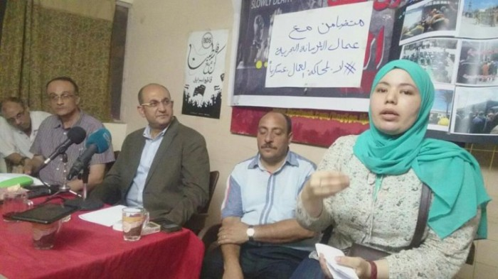 Trade unionists and activists in Cairo show their solidarity jailed Alexandria Shipyard workers at a public meeting organised by the defence campaign on 15 August 2016