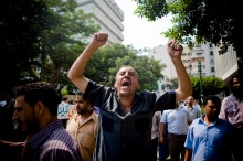 Ahmad Mahmoud leading chants among striking Cairo bus workers, September 2011 - picture: Hossam el-Hamalawy